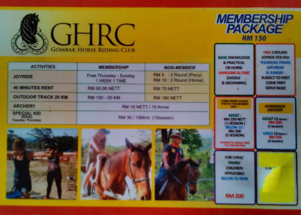 Gombak Horse Riding Club Membership Package